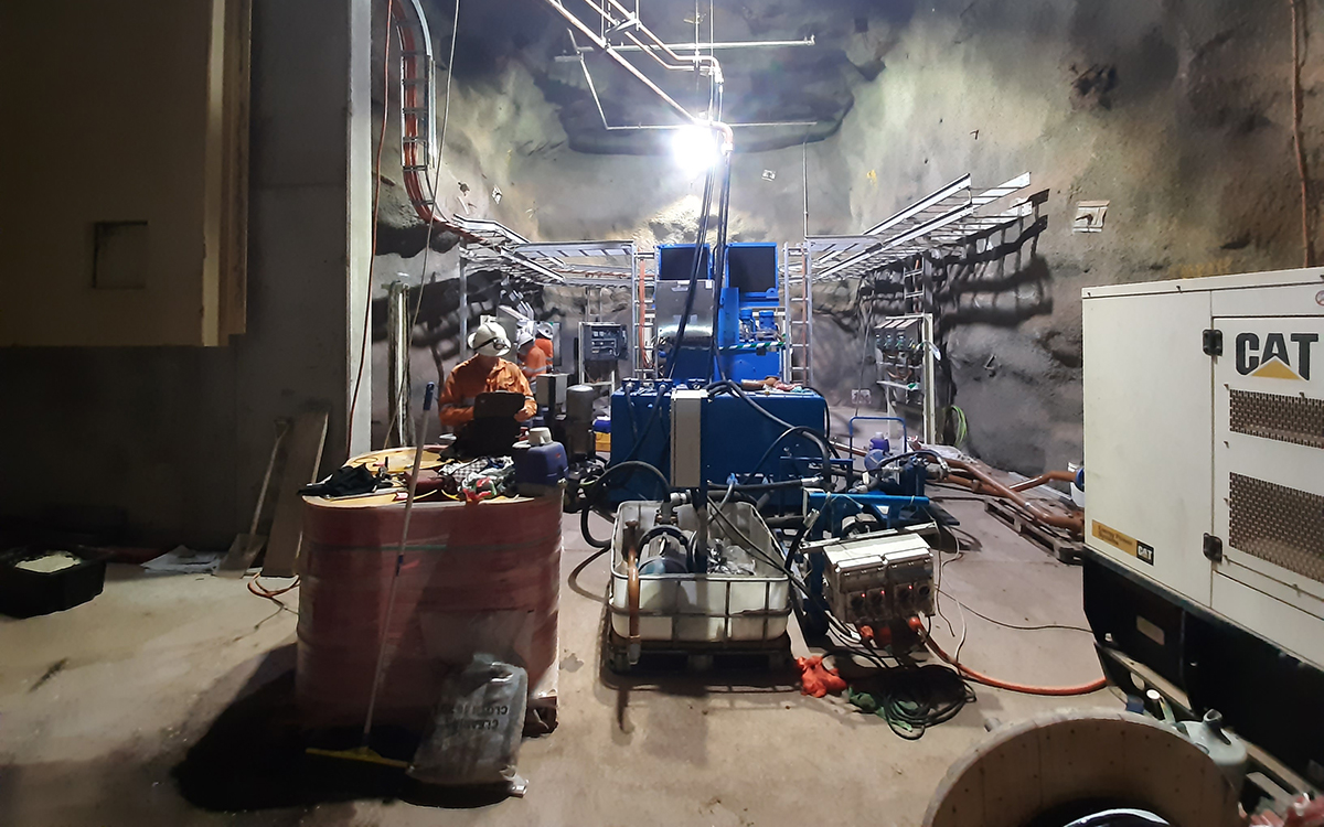 Worker testing control system at Carrapateena underground mine