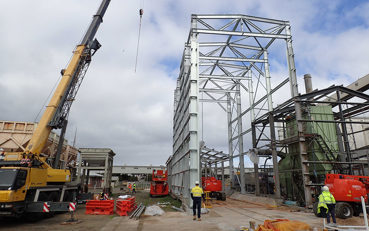 Shed construction at Port Lincoln Export Terminal